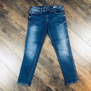 Zara Basics Skinny Mid-Rise Capri Blue Jeans Pants